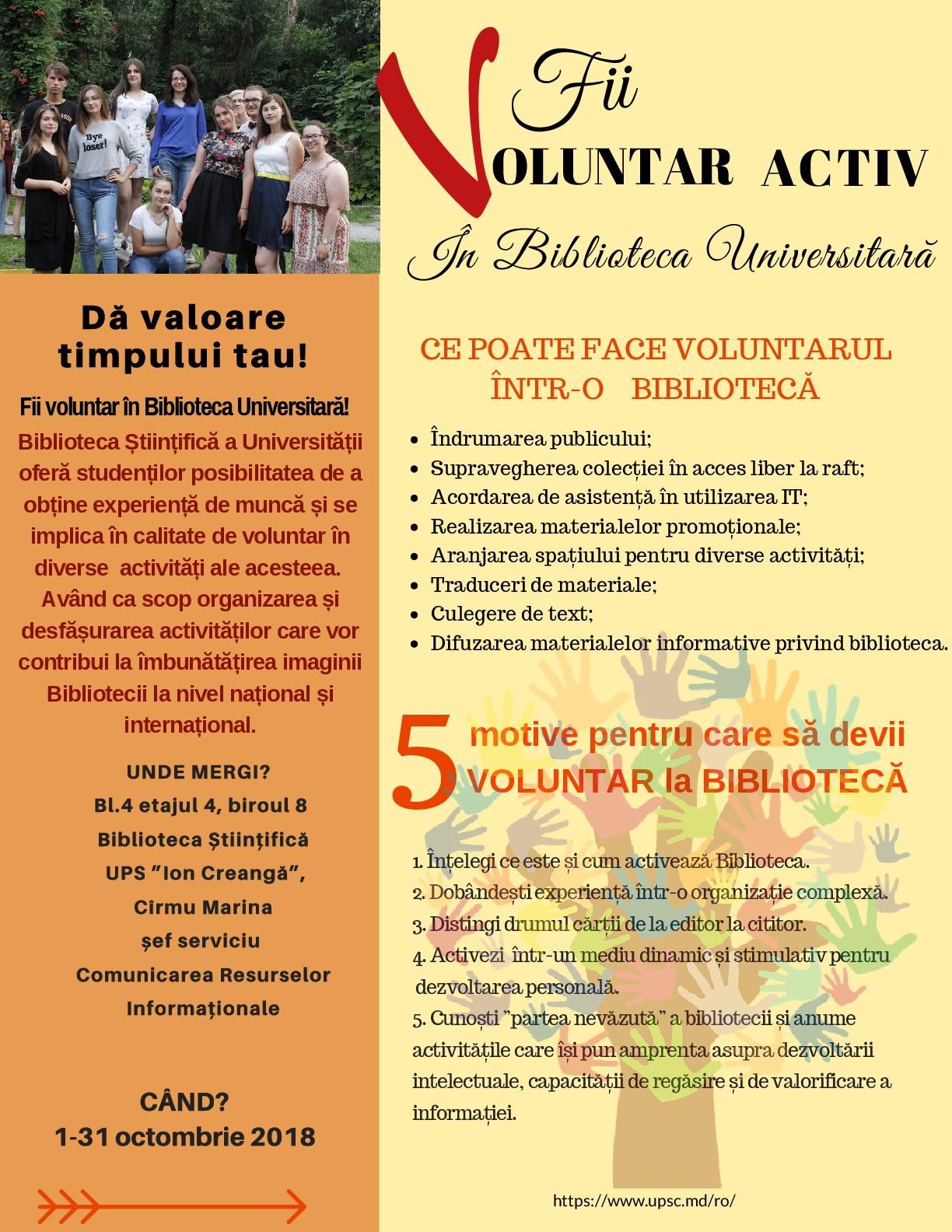 Fii voluntar activ în Biblioteca Universitară